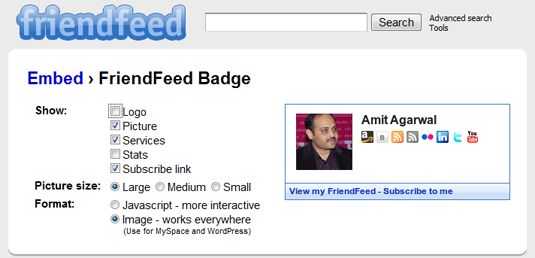 friendfeed badge
