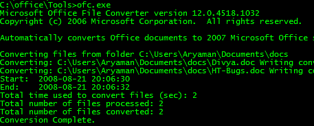 Bulk Convert Old Documents to Office 2007 Format