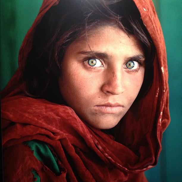 green eye afghan  girl national geographic