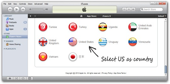 Change iTunes Store Country