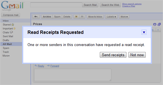 request answers read receipt