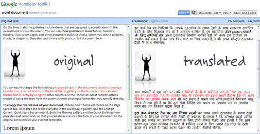 google document translator