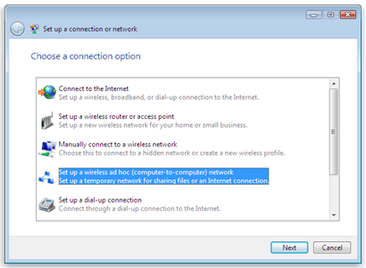 create wireless ad hoc network