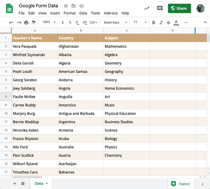 Google Form Answers in Google sheets