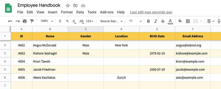 Google Spreadsheet with Answers