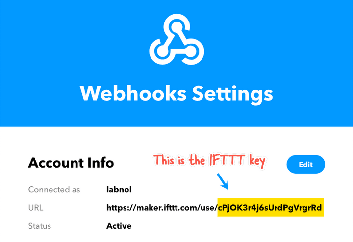 IFTTT Webhook Key
