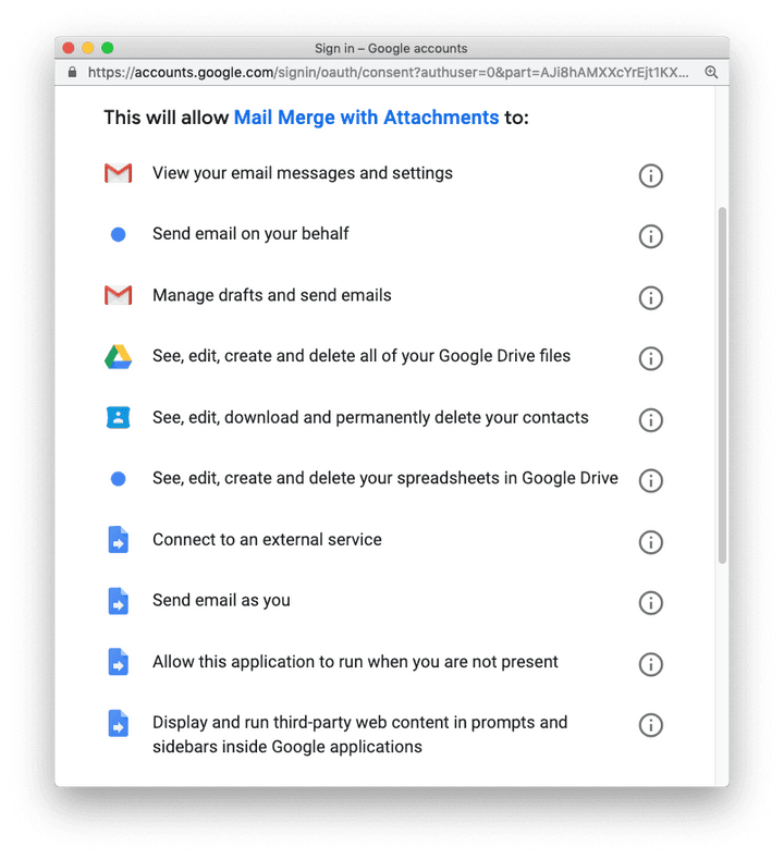 Mail Merge for Gmail - Permissions