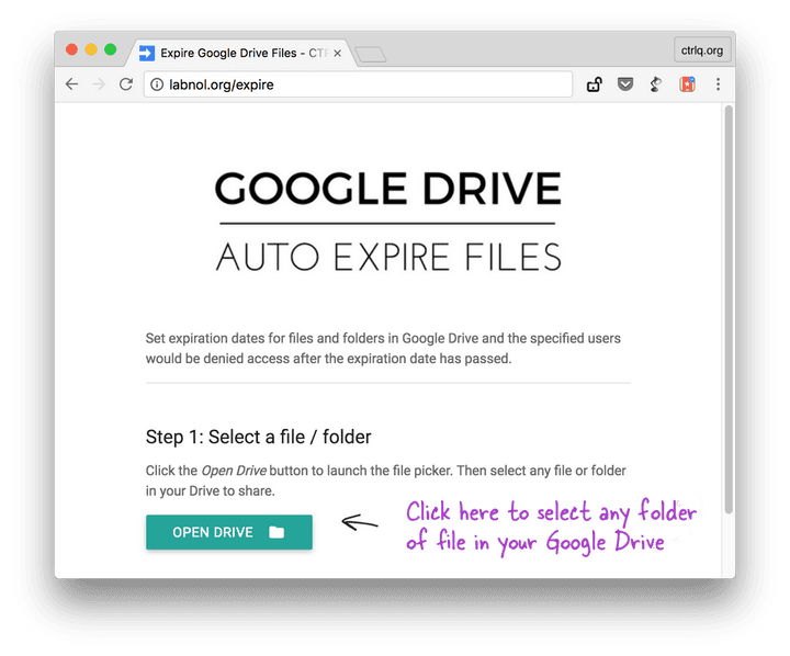 Select File in Google Drive