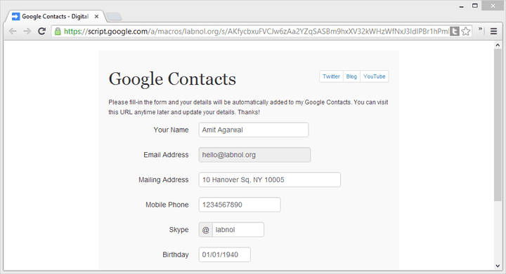 Google Contacts Form
