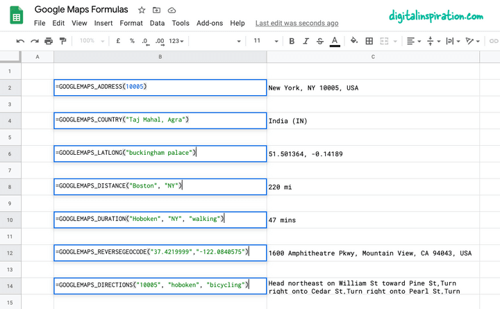 Google Maps in Google Sheets