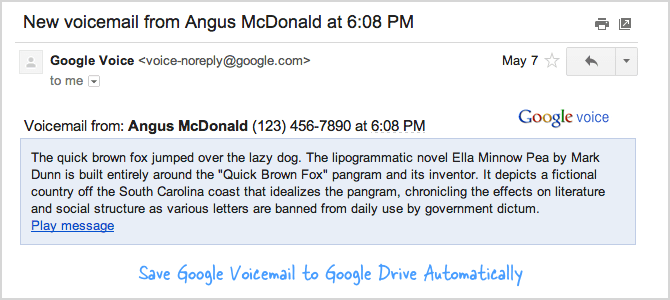 Google Voicemail as MP3