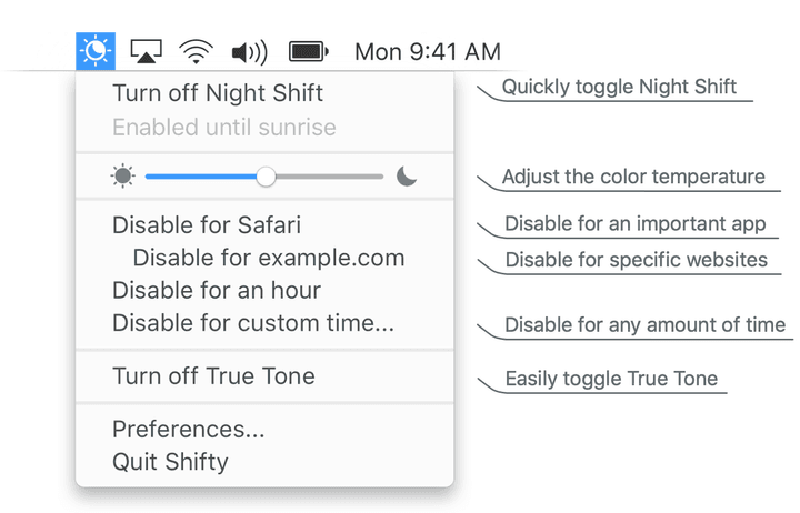 Control the Night mode on MacOS