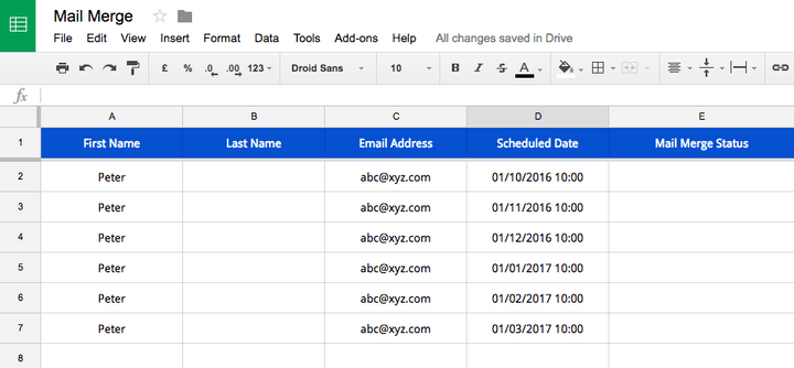 Mail Merge Recurring Email