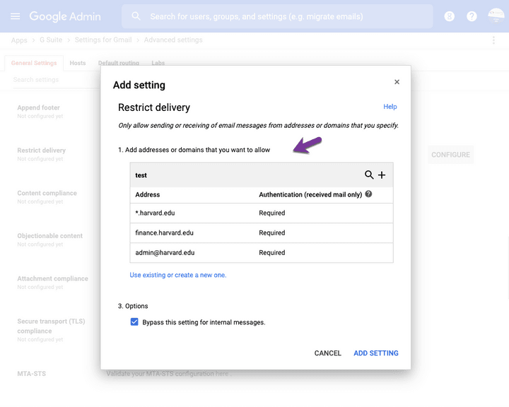 Whitelist domains and email addresses in Gmail