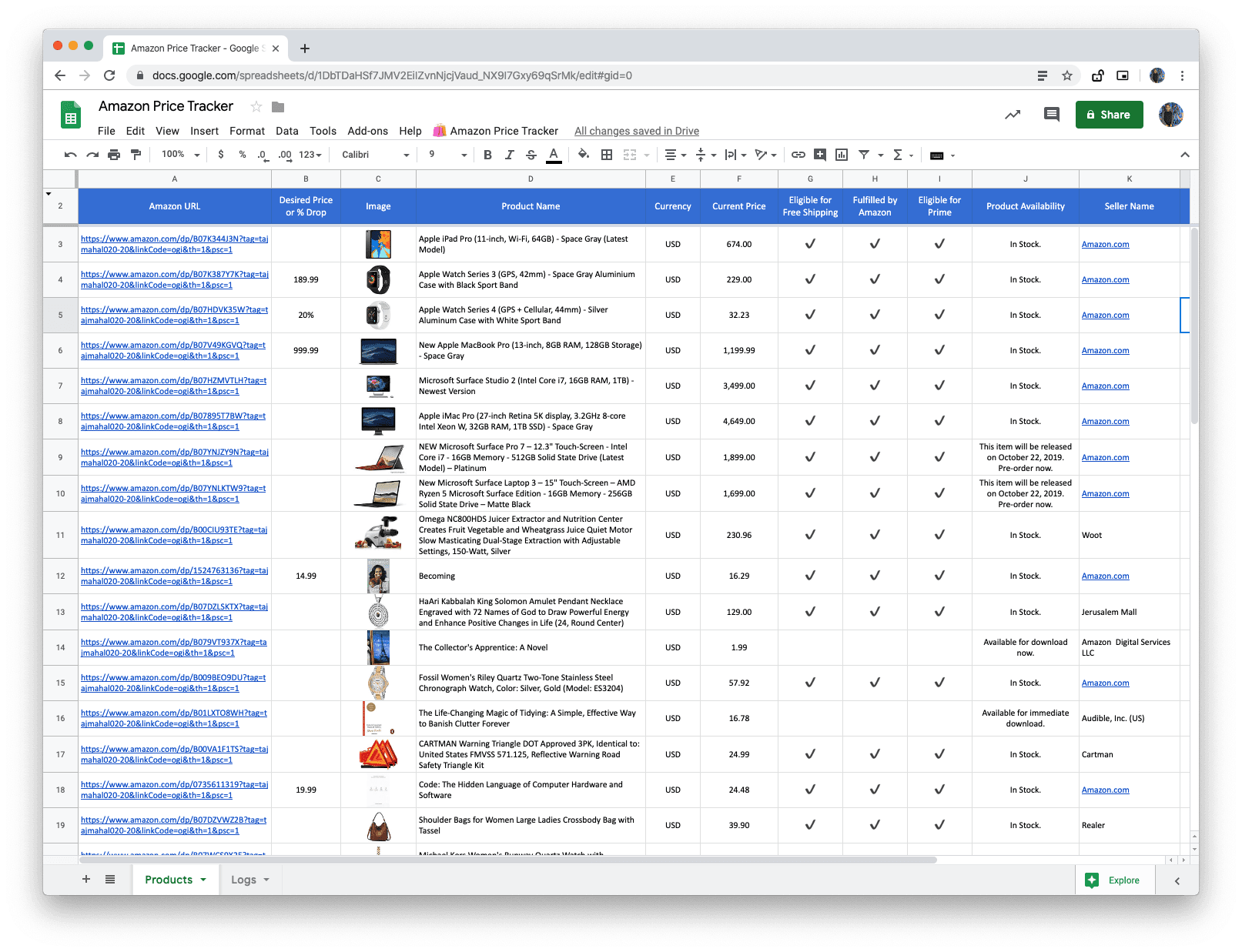 How To Use Google Sheets As An Amazon Price Tracker Digital Inspiration