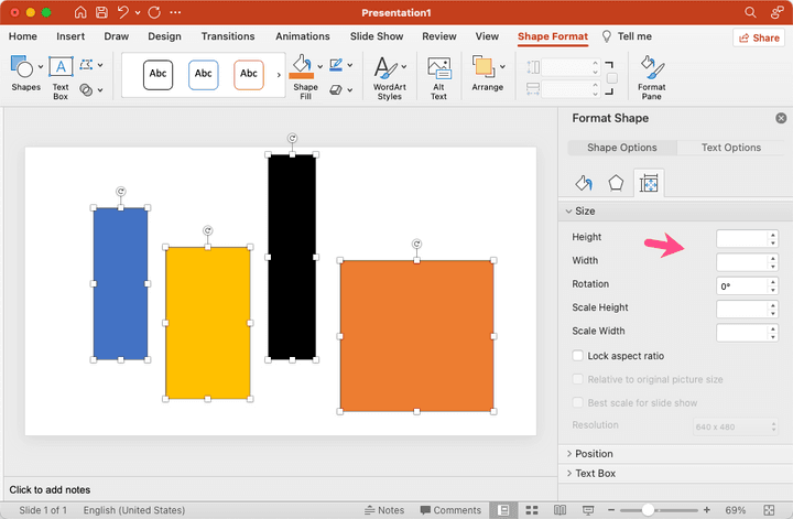 Resizes Shapes in Microsoft PowerPoint