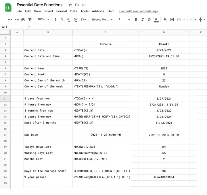 Google Sheets Date Functions