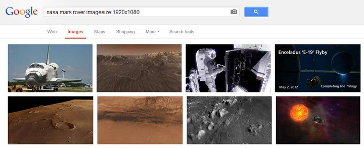 Google Image Search by Size