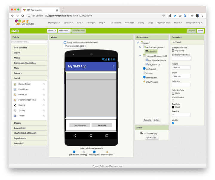 SMS Android App Inventor