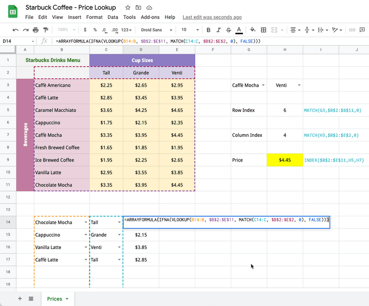 VLOOKUP MATCH function