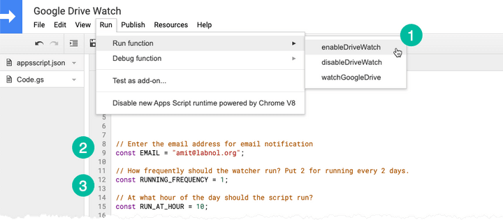Configure Google Drive Watch Email