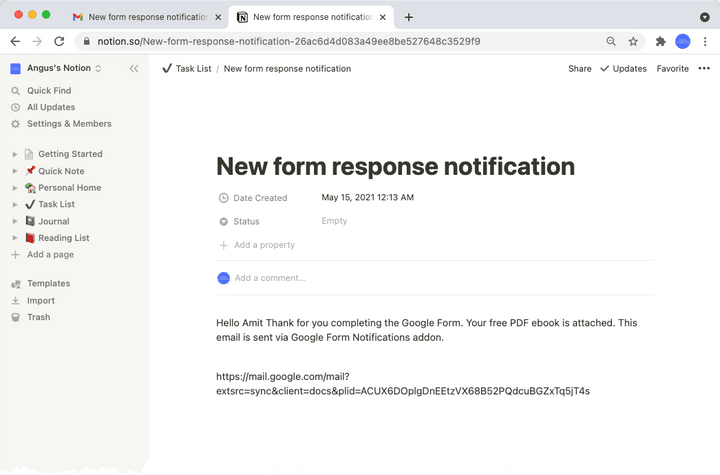 Notion page