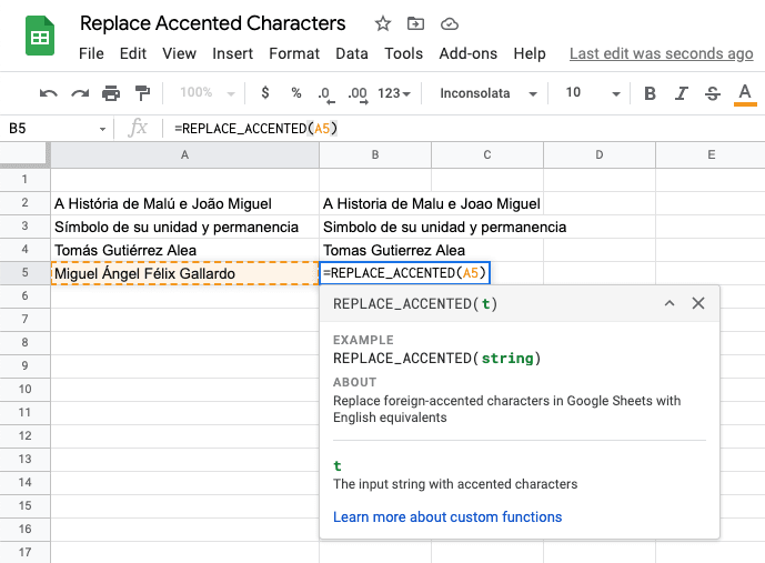 Foreign accented characters in Google Sheets