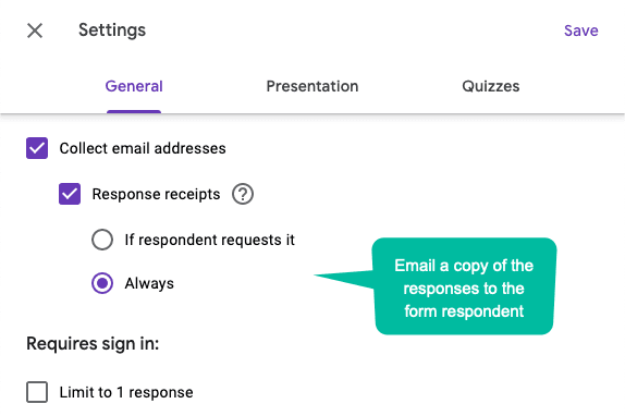 Google Form Email