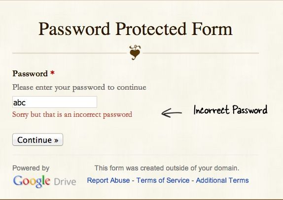 This Google Form is password protected