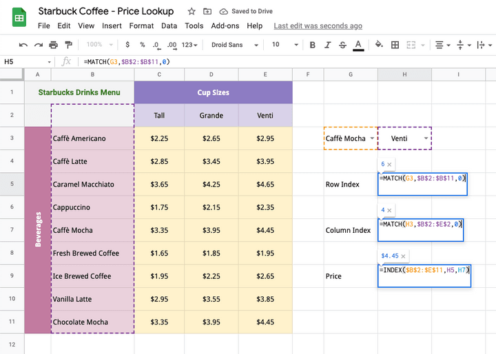 MATCH function in Google Sheets Price Table