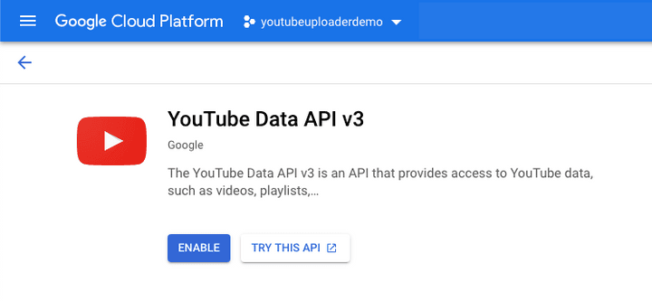 Enable YouTube API